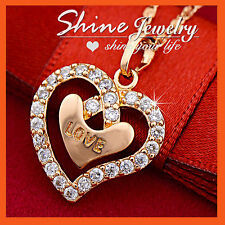 9CT ROSE GOLD GF LOVE HEART Simulated Diamond XMAS GIFT SOLID PENDANT NECKLACE