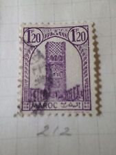 MAROC 1943-44, timbre 212, TOUR HASSAN RABAT, oblitéré, VF USED STAMP, MOROCCO