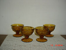 """4-PC INDIANA GLASS """"AMBER"""" CUBE 3 5/8"""" PUDDING-SERVING GLASSES/VINTAGE/CLEARANCE"""