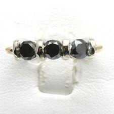 white gold 1.5 carat band two-tone Vintage Black Diamond 3 stone ring yellow