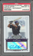 Justin Upton Tigers 2006 Bowman Sterling Rookie Card Auto Rc PSA 10 Gem Mint