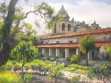 """Carmel Mission Garden"" June Carey Open Edition Fine Art 36"" Giclee Canvas"