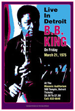 Master of the  Blues: BB King at  Detroit Concert Poster 1975