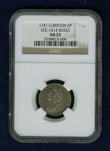 ENGLAND GEORGE II 1741 SIXPENCE COIN, ALMOST UNCIRCULATED, CERTIFIED NGC AU-53