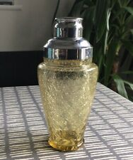 Art Deco Loetz Moser Crackle amber glass Cocktail shaker, with chrome fittings.