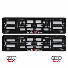 NEW 2x BLACK S LINE AUDI CAR NUMBER PLATE SURROUNDS HOLDER FRAME FOR ANY AUDI