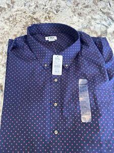 Harbor Bay Button Up Shirt Men's 5 Xlt XXXLT Short Sleeve Blue Plaid 100% Cotton