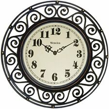 Wall Clock Large Art Home Decor Vintage Rustic Country Outdoor Indoor Silent
