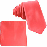 """New Polyester Men's 2.5"""" Neck Tie & hankie formal wedding prom party work CORAL"""