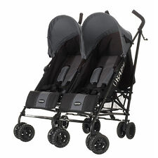 APOLLO TWIN DOUBLE PUSHCHAIR STROLLER - BLACK/GREY with GREY HOODS