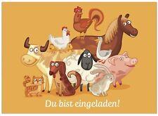 16 Einladungskarten zum Kindergeburtstag - Motiv Tiere auf dem Bauernhof