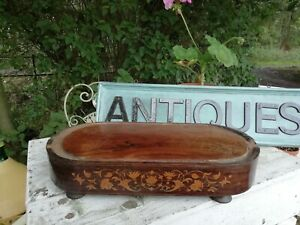 Antique 19th C French Wooden Inlaid Parquetry Clock Plinth Display Base 37.5cm