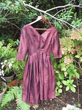 "VINTAGE SPARKLY DEEP RED / BURGUNDY BLACK EVENING PARTY DRESS-SIZE 8/10-42"" LONG"
