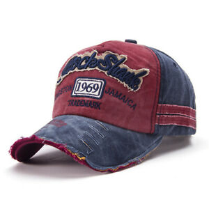 Men Women Denim Hat Distressed Trucker Hat Summer Embroidered Baseball Cap Hat