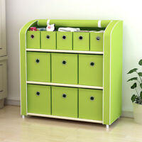 11 Drawers Storage Shelf  Storage Chest Closet Cabinet with Foldable Fabric Bins
