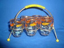1950's Set of 6 French Shot Glasses in a Wire holder ~ Kitsch/Retro/Uber Cool!