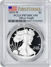 2019-W American Silver Eagle Dollar PR70DCAM PCGS Proof 70 Deep Cam First Strike
