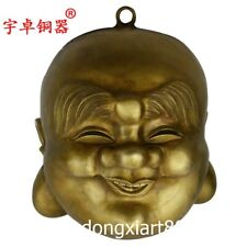 Pure Bronze Chinese Buddhism Happy Chortle Maitreya Buddha Head Amulet Pendant