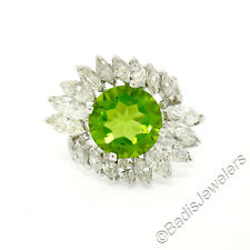 Vintage Platinum Large 10.20ctw Round Peridot & Marquise Diamond Cocktail Ring