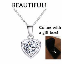 Women Silver Crystal Rhinestone Heart Pendant Necklace Jewelry Gift Box Charm