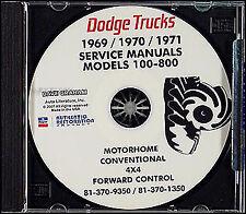 1969 1970 1971 Dodge Truck CD Shop Manual Pickup D100-800 Power Wagon W100-W300