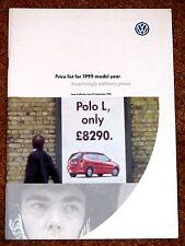1999 VW PRICE LIST - Polo 16V Golf GTI Golf Cabrio Passat Sharan VR5 Syncro TDI