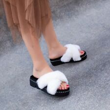 Women Creepers Faux Fur Slippers Slip On Platform Scuffs Peep Toe Sandals Shoes