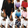 Women's V Neck Mesh Floral  Panel Blouse 3/4 Bell Sleeve Daily Loose Top Shirt