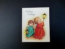Vintage Unused Xmas Greeting Card Sweet Angels Standing by Stained Glass Window