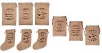 Hessian Christmas Santa Sack Vintage Small Gift Bags Large Stocking Decoration