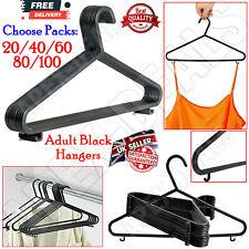 20-100x Clothes Shirt Coat Hangers Black Plastic Adult Antiskid Non Slip Hanger