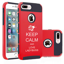 For iPhone 6 6s 7 Plus Dual Shockproof Hard Case Cover Keep Calm Love Ladybugs