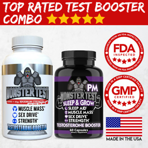 Testosterone Booster Monster Test with Tribulus for Men + Monster Test PM 2 Pack
