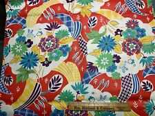 Vintage Cotton Fabric 40s CUTE Red Yellow & Green Floral NOVELTY 35w 1yd