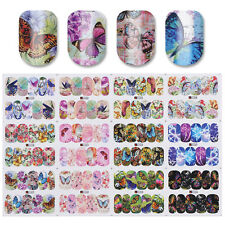 Water Decal 12 Patterns Big Sheet Butterfly Nail Transfer Sticker Tips Manicure