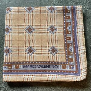 HANDKERCHIEF HANKY VINTAGE BROWN PLAID PATTERNED COTTON MEN'S POCKET SQUARE~18""