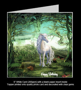 'Unicorn in the Forest' Mystical Birthday Card, Glossy White Unicorn Topper
