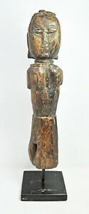 Antique Wooden Gangaur Woman Figurine Statue Original Old Hand Carved Painted