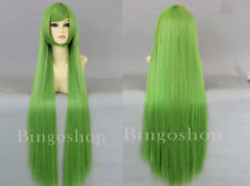 Code Geass C.C Anime Cosplay Wig light green +Free wig cap