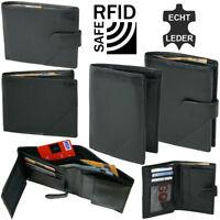 Herren Geldbörse mit RFID-Schutz Echt-Leder schwarz Geldbeutel in Geschenkbox