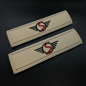 Mini Cooper S Beige Seat Belt Shoulder Pads Covers with embroidery 2PCS