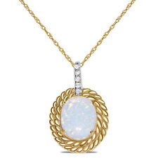 Ladies .05CT Diamond Created Opal Oval Necklace Pendant in 10k Yellow Gold