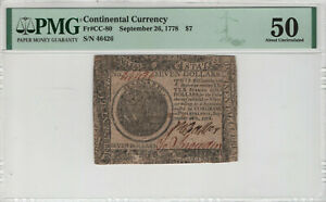 SEPTEMBER 26 1778 CONTINENTAL CURRENCY NOTE CC-80 $7 PMG ABOUT UNC 50 (034)