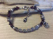 "AGGIES Texas A&M Football Charm Purple Glass Sterling Silver 925 8.5"" Bracelet"