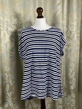 Phase Eight 14 Striped Top Nautical Loose Relaxed Fit Cotton Blue White Stripes