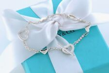 """RARE Tiffany & Co Heart Link Lariat Silver Toggle 7"""" Bracelet W/ Pouch"""
