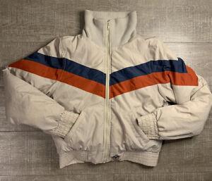 Roxy Retro Chevron Puffer Jacket Cropped Ski Style Coat Women's Size Medium