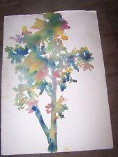 "Original Watercolor By Peg Humphreys,Rainbow Tree & ? 11.5""x 16.5"""