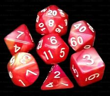 New 7 Piece Rosy Red Yellow Gemini Polyhedral Dice Set – Burgundy Bag – RPG D&D