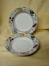 "Set 2 Dansk Umbrian Fruits Rim Soup Bowls 8.75"" Berry Vine Pear RET Portugal VGC"